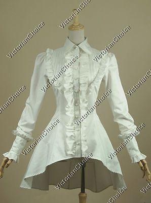 Victorian White Blouse Shirt Steampunk Ghost Witch Women Halloween Costume B007