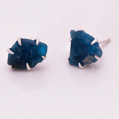 925 Sterling Silver Earrings, Raw Neon Apatite Handcrafted Jewelry RSE417