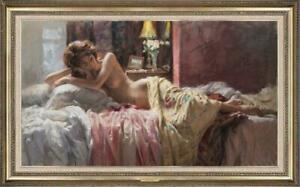 "Hand painted Original Oil Painting art Portrait bed girl on canvas 24""x40"""
