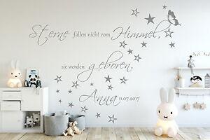 Kinderzimmer sterne  Wandtattoo AA138 Kinderzimmer Sterne fallen nicht...Namen Baby ...