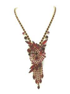 Vintage-Juliana-Delizza-amp-Elster-Red-Rhinestone-Necklace