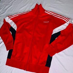 Détails sur Rare Vintage Adidas Originals Veste de Survêtement Rouge Noir Blanc Souple Grand