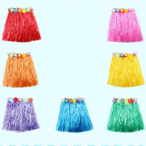 New Kids Adult Hawaiian Hula Grass Skirt Flower Wristband Party Beach Dres Nd