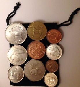 Bag-Of-Complete-set-Old-Irish-Coins-from-1-Punt-50p-20p-10p-5p-2p-1p-Ireland