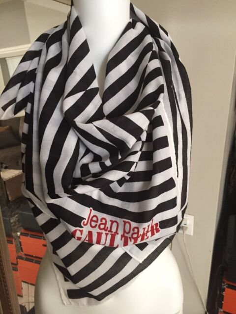 """Jean Paul Gaultier Parfums Limited Collectors /""""Pirate/"""" Scarf navy white large"""