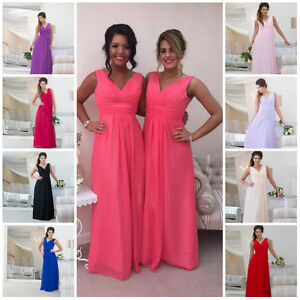 45ab6f467cf63 Details about 2 Shoulder Wedding Bridesmaid Evening Chiffon Prom Maxi Dress  Plus Size Ballgown