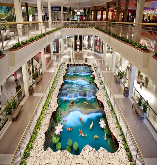 3D Lotus Waterfall Fish 89 Floor WallPaper Murals Wall Print Decal AJ WALLPAPER