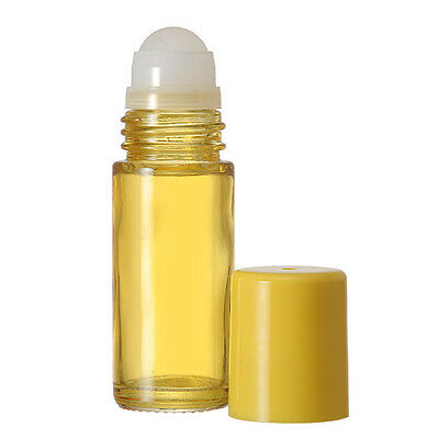 1 Extra Large Empty Yellow Glass Roll On Bottle 30 ml./1 oz. New and Refillable