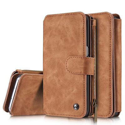 Samsung Galaxy  Leather Removable Magnetic Wallet Flip Card Case Cover