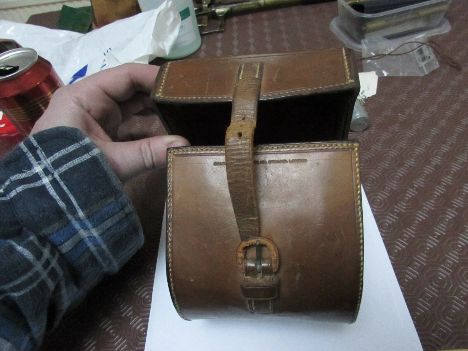 farlow large Vintage leather fishing etc perfect case reel
