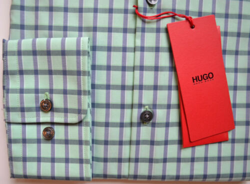 NWT HUGO Red Label By Hugo Boss Sharp Fit Long Sleeve Checked Dress Shirt