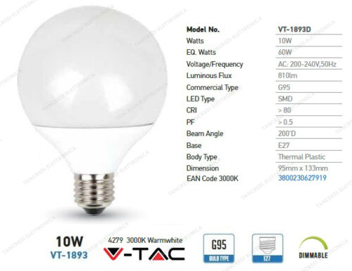 Lampadine led VTAC dimmerabile dimmerabili dimmer a candela bulb smd filamento