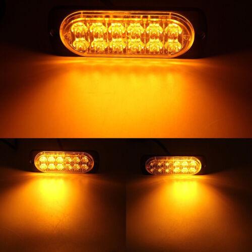 10X Amber 12LED Car Truck Emergency Beacon Warning Hazard Flash Strobe Light Bar