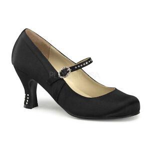 Black Satin 1920s Fler Period Costume Shoes Kitten Heels