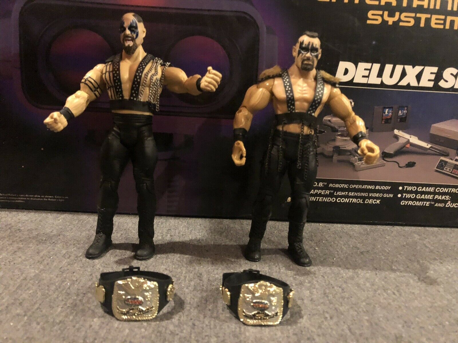 Powers of Pain Warlord Barbarian Custom Wrestling Figures w  Tag Titles WWF WCW