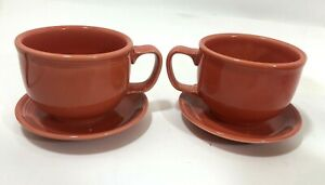 LOT-FIESTA-WARE-HOMER-LAUGHLIN-PERSIMMON-Soup-Bowls-Mugs-Saucers-Vintage-Orange