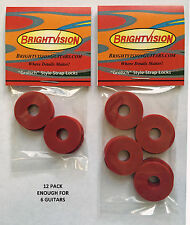 Twelve RED Rubber Guitar Strap Locks - Grolsch Style - Classic and Reliable