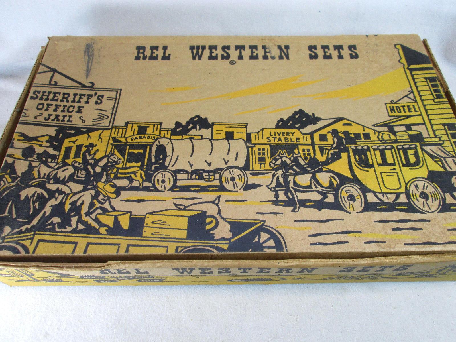 Vintage década de 1950 Rel Western Juego Plástico Caballos vagones & Vaqueros