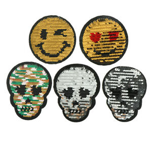 Bone-Face-Reversible-Change-color-Sequins-Sew-On-Patches-For-Clothes-DIY-JR