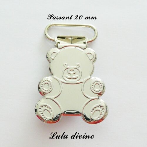 Attache tétine sucette doudou passant de 20 mm Clip bretelle 2 Pinces Ourson
