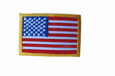 """American Flag,US Flag Yellow Border Embroidery Iron On Patch-Small 1-5/8"""""""