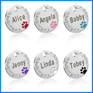 Personalised-Christmas-Swarovski-Paw-Print-Tag-Dog-Cat-Pet-ID-Tags-Reflective