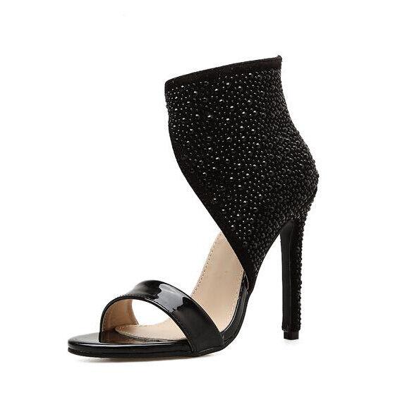 Sandale stiletto eleganti tacco 12 cm nero alti simil pelle eleganti 1027