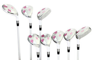 Petite-Mujer-Majek-Golf-Blanco-Juego-Hibrido-4-SW-Dama-Flex-Utilidad-Clubs