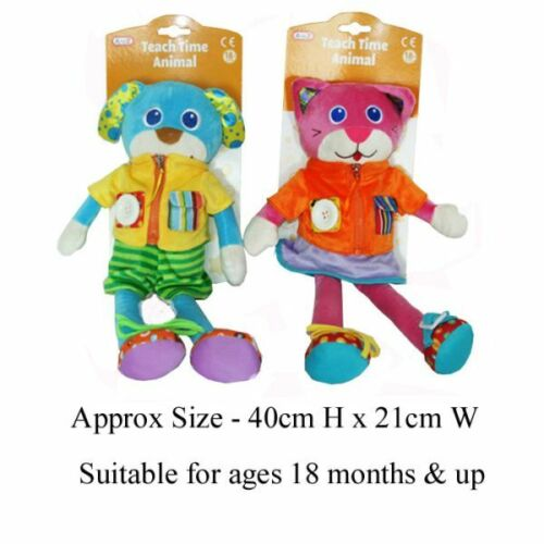 Children/'s Plush Teach Time Toy Pink Cat Or Blue Dog
