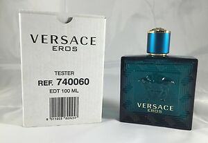 Versace Eros By Versace 3.3 / 3.4 Oz EDT Spray New Tester Cologne For Men W/ Cap
