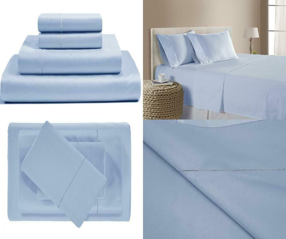 500 Thread Count Cotton Sheets Set - 100% Pima Twin, Estate Blau (Solid)
