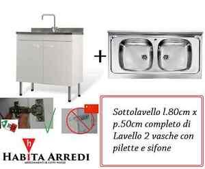 Mobile lavabo cucina 80x50 bianco 2 ante 2 vasche acciaio inox economico ebay - Mobile lavabo cucina ...