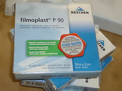 "FILMOPLAST P90  thin white archival book repair tape 3/4"" x 165'"