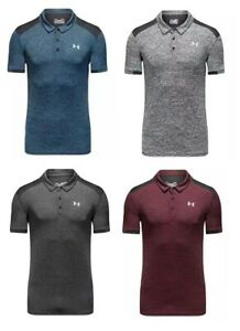 New-Under-Armour-Golf-Polo-Contrast-Shoulder-Grey-Black-Blue-Red-Marl-Fitted