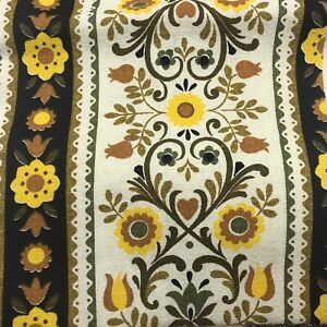 Vintage-Barkcloth-Yellow-Brown-Floral-Pennsylvania-Dutch-Country-Remnants-19x48
