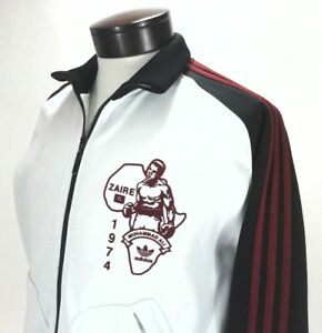 Details about ADIDAS Track Jacket Muhammad Ali Zaire WhiteBlack Red Stripes Zip Men's S RARE