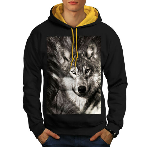Wild Casual Pull Wellcoda Loup solitaire Visage Homme Contraste Sweat à capuche