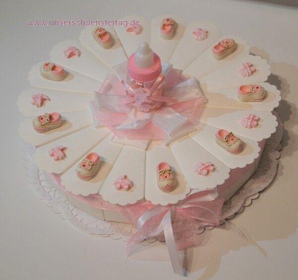 Rosa Gastgeschenke Torte zur Geburt Geburt Geburt Taufe Mädchen GG0047 bdaa17
