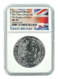 2018 U.K £5 Silver Queen/'s Beasts Black Bull 2oz NGC MS70 ER Flag