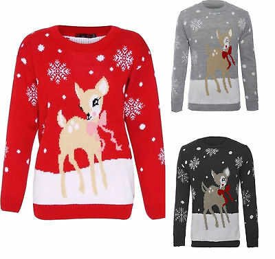 Ehrgeizig New Women Kids Christmas Bambi Baby Deer Print Knitted Xmas Jumper Top Uk 3/4-22