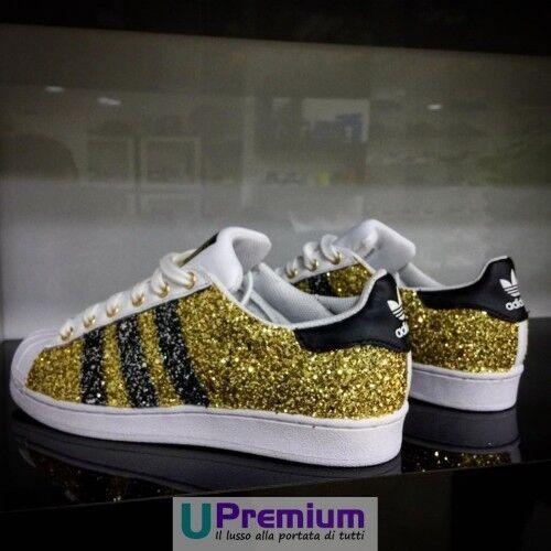 Adidas Superstar Glitter Doré Strisce Brillantinate [Prodotto Customizzato] Scarp