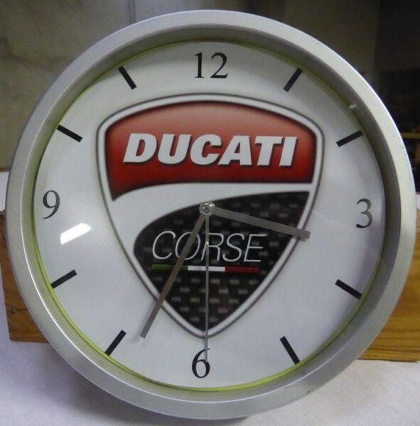 Ducati Pendule Murale Horloge 20cms Monster Hyper Supermotard Multistrada 996 Puur Wit En Doorschijnend