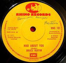 "Bruce Ruffin Mad About You 7""1972 Reggae Rhino RNO 101 b/w Save The People VINYL"