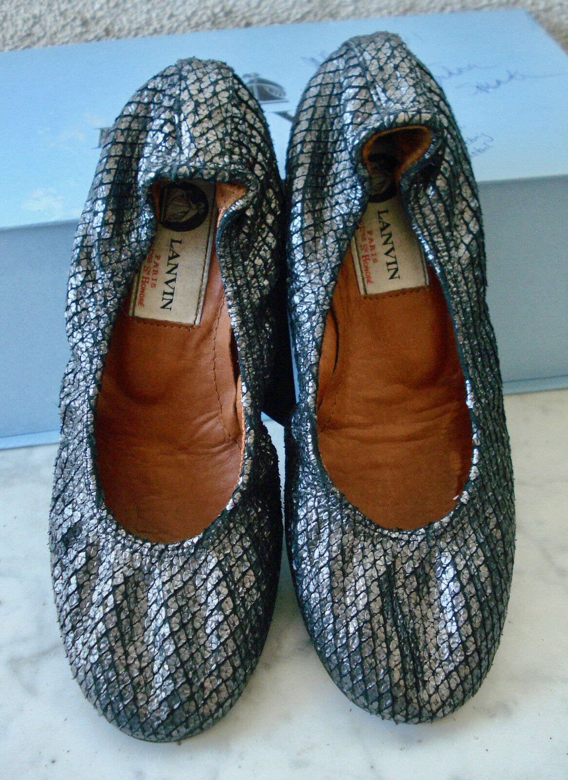 LANVIN Pewter Silver Python Leather Ballet Flats  35 (US-5, UK-3)