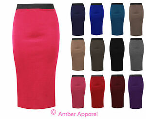 LADIES-PLAIN-OFFICE-WOMEN-STRETCH-BODYCON-MIDI-PENCIL-SKIRT-PLUS-SIZE-8-22