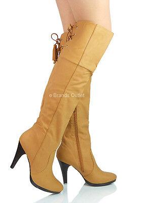 Nuevo Mujer Damas Tacón Alto Botas Hasta La Rodilla Imitación Gamuza Diseñador Zapatos Talla