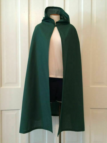 Hooded Cape Green Adult Medieval Renaissance Costume Cloak One Size