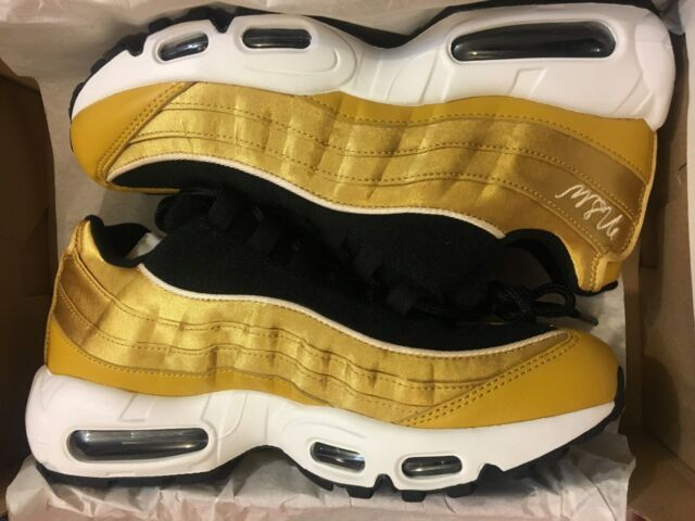 newest collection 3ca46 b6ec5 NEW NIKE AIR MAX 95 LX SATIN BLACK GOLD NSW CASUAL SHOES AA1103-700 WOMEN