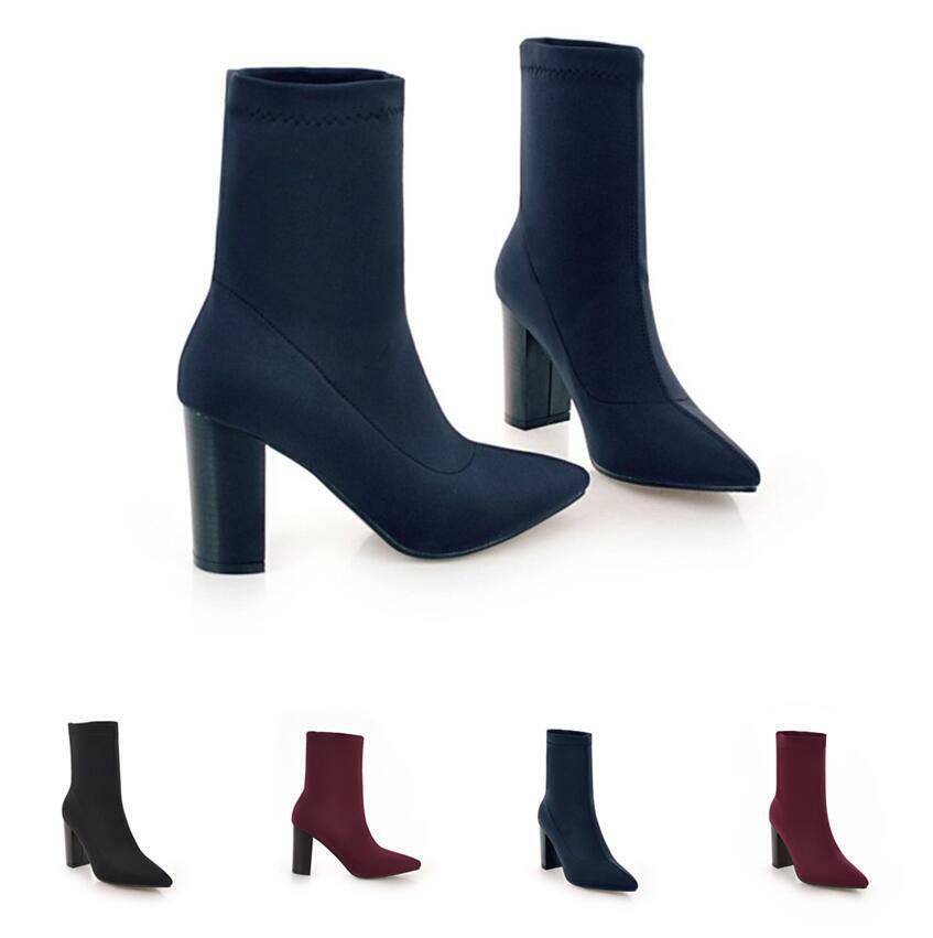 Abend Damenstiefeletten Stretch Ankle Stiefel 34 48 Blockabsatz Spitz Pumps Sexy