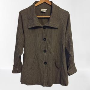 Mill-Valley-Clothing-Company-M-Medium-Lagenlook-Cowl-Neck-Jacket-Top-Linen-Blend